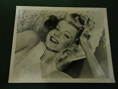 rita hayworth signed photo, still  from columbia pictures with original envelope