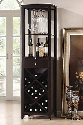 Acme 12244 Casey Wine Cabinet Tower With Storage Drawer In Wenge Finish New