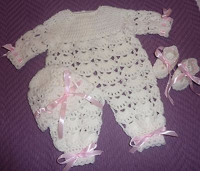 "Ivory All In One Day Suit For Reborn Doll 18-20"" Or Prem Baby Girl New Crochet"