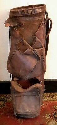 Vintage Leather Golf Bag for Repair or Restoration