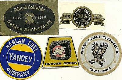 """5 Coal Mining Company - Hard Hat- Coal Mining Stickers-Decal """"old"""""""