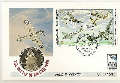 Marshall Islands 1990 The Battle of Britain - $5 Coin Cover - Ltd Ed No. 3227