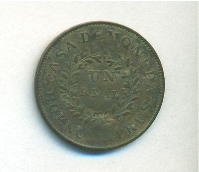 Argentina Buenos Aires Coin 1 Real 1840 Copper A7-R5 Km# 7