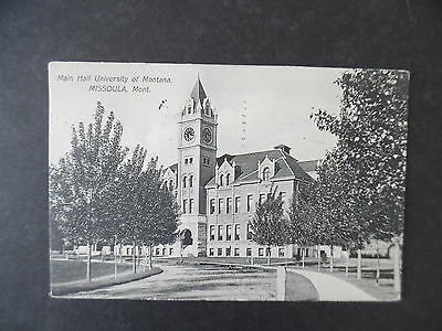 1910 Missoula Montana University Main Hall Postcard & Cancel