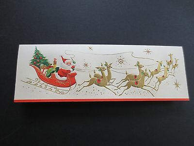 #K379- Vintage Unused Xmas Greeting Card Santa Clause & Reindeer on Sleigh