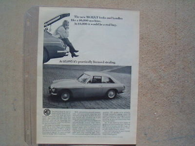 1966 Mgb / Gt ***original Vintage Ad*** The New Mgb/gt