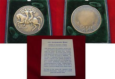 1951 Centenary of the Government of Victoria.. AE, 64mm Medallion.. Cased