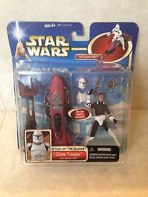 Star Wars Attack Of The Clones Clone Trooper With Speeder Bike Action Figure