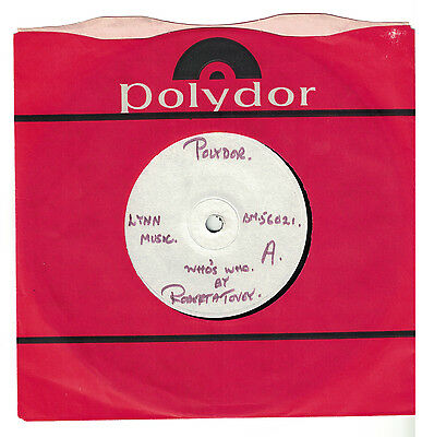 "ROBERTA TOVEY 1965 UK 7"" Test Presiing = WHO'S WHO _a DR WHO Tie-in Vinyl Record"