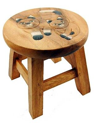 Stool For Child Wooden With Cats 25cm (H)