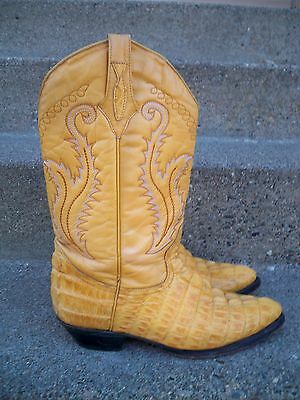 Vintage Brown Leather Crocodile Embossed Cowboy Men's Western Boots Size 9 US