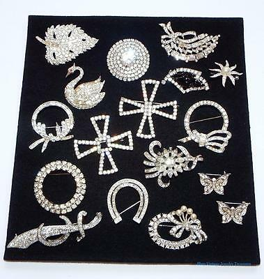 Vintage Lot #15 Clear Rhinestone Pins Estate Lot