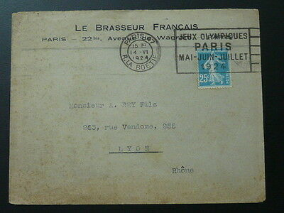 olympic games Paris 1924 postmark on cover