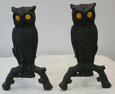 Antique Cast Iron Pair OWL Andirons Amber Glass Glowing Eyes 144 U 1 Fireplace