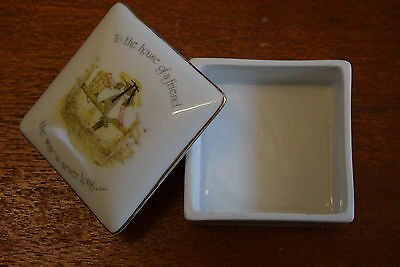 Vintage HOLLY HOBBIE Square Porcelain TRINKET BOX 'To the House of a Friend'