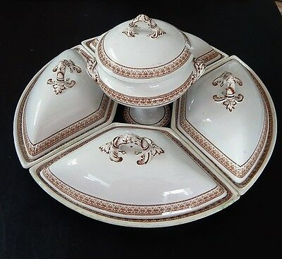 Mid 1800's Copeland Partial Dinner Set. Soup Tureen And Covered Crecent Dishes.