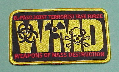 El Paso  Texas  Joint Terrorism Task Force  Wmd  Police Patch   Free Shipping!!!