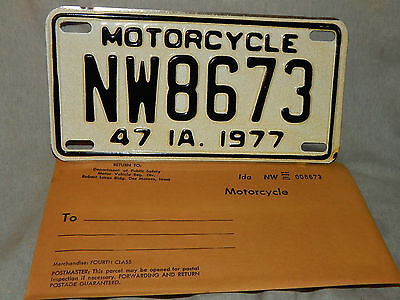 """1977 IOWA Motor Cycle, #NW8673, Vintage New! License Plate 4"""" X 7-3/4"""""""