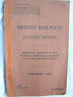 Book - British Railways East - Sectional Appendix To Working Timetable - 1972