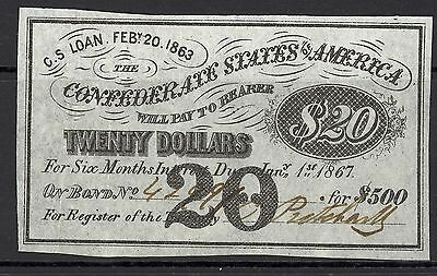 Confederate, Mint, $20 Coupon, Creases