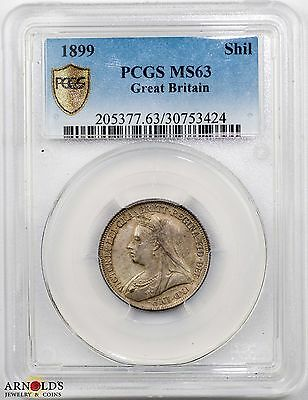 1899 Great Britain Shilling MS63 PCGS Toned!
