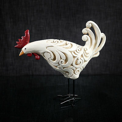 ROOSTER FIGURINE STATUE RESIN white figurine KITCHEN COUNTRY Farm  New 10 IN.