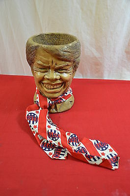 Vintage 1977 Jimmy Carter Mel Tress Head Planter Smiling President 8 inches 1344