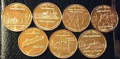 Lot Of 7 Different 1 Oz Civil War Copper Rounds