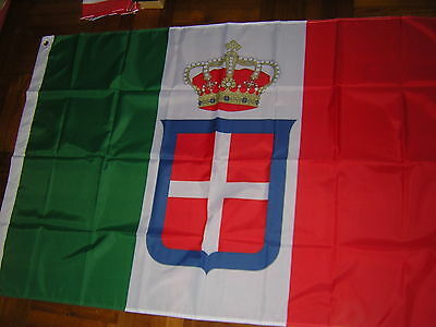 100% New Reproduced Italian Flag of Italy 1861-1946 crowned Ensign 3X5ft Rome