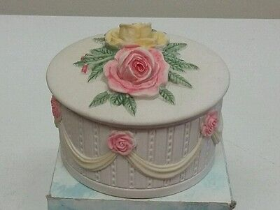 Beautiful floral Trinket Pot by HANDCAST DESIGNS with roses lid