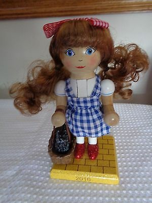 """2016 Dorothy wooden figure nutcracker new  6 1/2"""" w Toto in basket red shoes"""