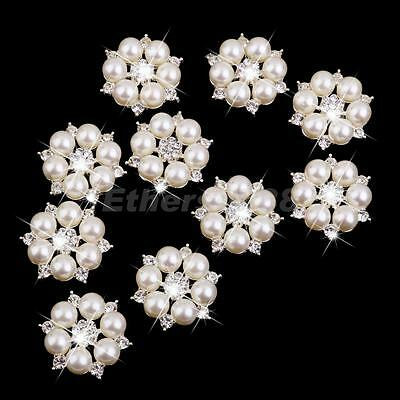 10x Crystal Pearl Flower Button Brooches for Bridal Wedding Bouquet DIY 28mm