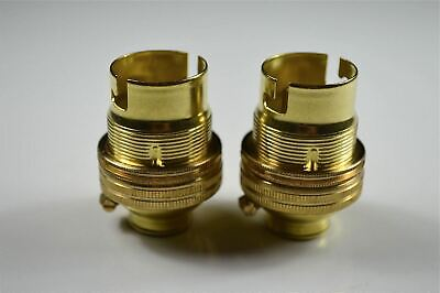 "Pair of brass 5/8"" inch bulb holder B22 standard bayonet bulb earthed W1"