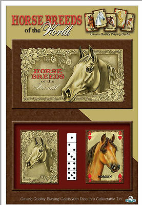 New Horse Card and Dice set in Metal container