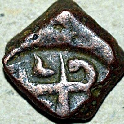 indian mughal king muhammad shah copper coin very rare - 16.17gm