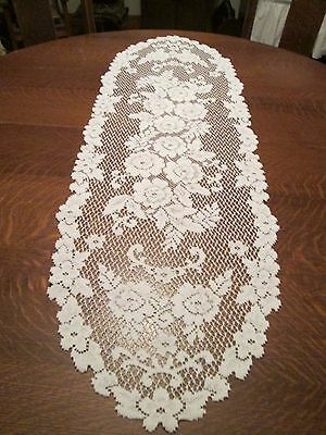 White Floral Lace Table Runner/44 x 14""