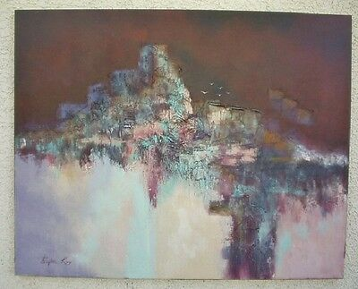 Mid Century Modern Stephen Kaye Large Abstract Landscape Oil Painting On Canvas