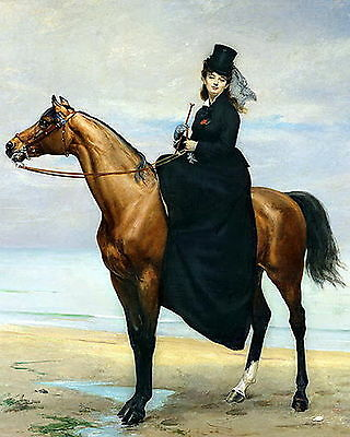Equestrian Print c19th Victorian Lady Side Saddle Mount Horse Riding Hat & Dress