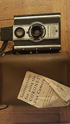 Vintage Coronet Twelve-20 box camera & case with instuctions colour filter model