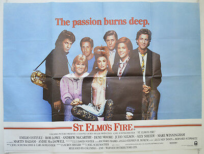ST. ELMO'S FIRE (1985) Cinema Quad Poster - Rob Lowe, Demi Moore, Emilio Estevez