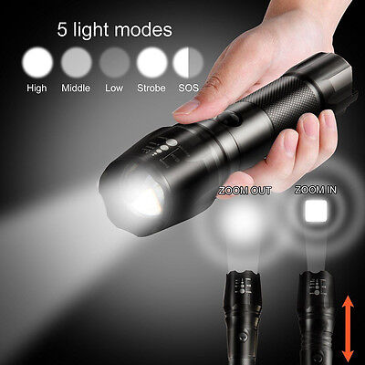 5000Lm Shadowhawk Zoomable Flashlight 5 modes XML T6 LED 18650 Focus Torch Lamps