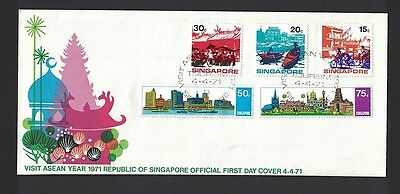 Singapur Singapore 1971 Minr 133 - 137 first day cover FDC used O ASEAN Tourism