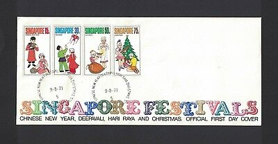 Singapur Singapore 1971 Minr 138 - 141 first day cover FDC used O Festivals