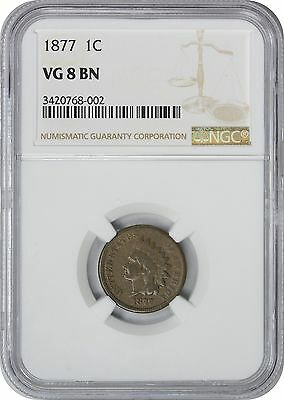 1877 Indian Cent VG8 BN NGC Very Good 8 Brown