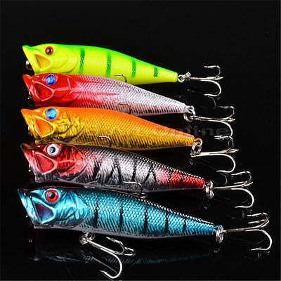 Lot 5pcs Kinds of Fish Fishing Lures Assorted Spoon Metal Hooks Baits Tackle
