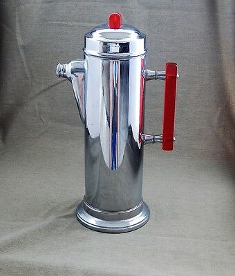 Stainless Chrome Steel Plated Cocktail Shaker With Red Lucite Finial And Handle.