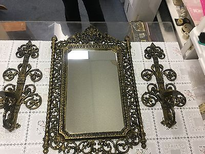 Homco Black Gold Resin Rare Set Mirror Candle Holders Sconces 2041 4776 Antiqued