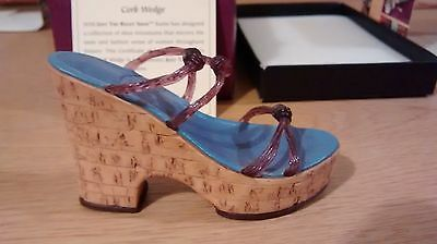 "Collectible Miniature Shoe ""Just the Right Shoe"" by Raine - Cork Wedge (Boxed)"