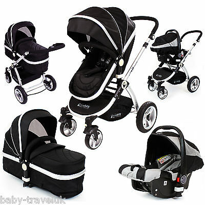 Deluxe Baby Pram Pushchair iSafe Luxury + Car Seat Travel System New 3in1