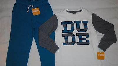 """NEW Boys Size 7-8 Gymboree Outfit """"DUDE"""" Shirt & Teal Sweatpants $42 NWT"""